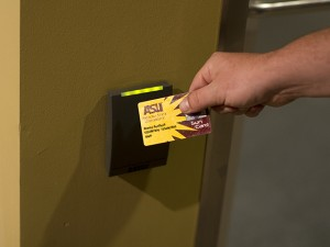 ASU Sun Card being used as a keyless access to a door.